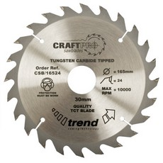 Craft saw blade 165mm x 24 teeth x 30mm