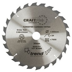 Craft saw blade 250mm x 24 teeth x 30mm