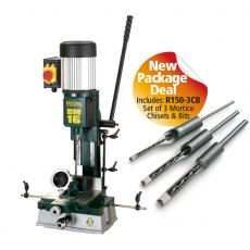 Record Power BM16 Sliding Table Morticer with R150-3CB 3 Piece Chisel Set