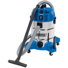 DRAPER 30L Wet and Dry Vacuum Cleaner with Integrated 230V Power Socket (1600W)