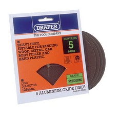 DRAPER Five 125mm Medium Grade Aluminium Oxide Sanding Discs