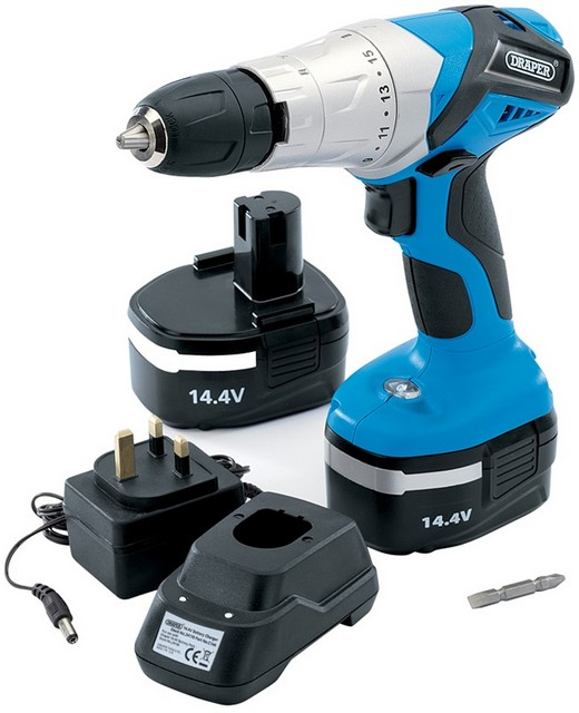Draper DRAPER 14.4V Cordless Hammer Drill with Two Batteries