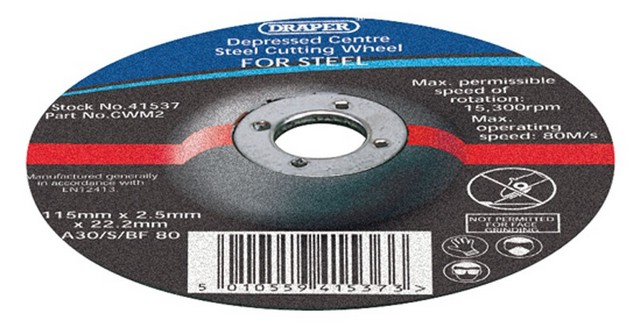 Draper DRAPER 115 x 22.2 x 2.5mm Depressed Centre Metal Cutting Wheel