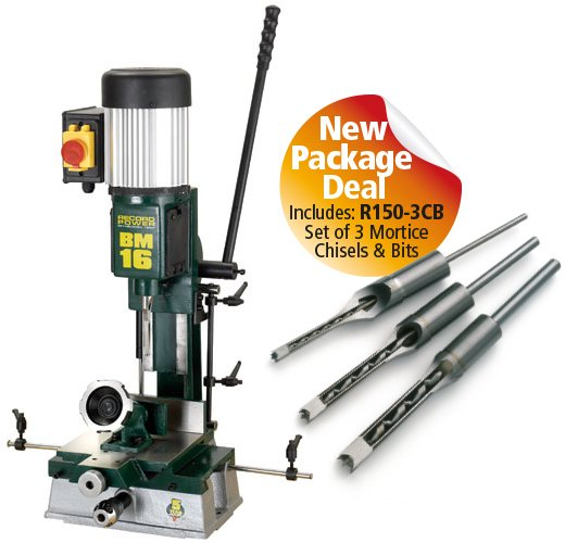 Record Power Record Power BM16 Sliding Table Morticer with R150-3CB 3 Piece Chisel Set