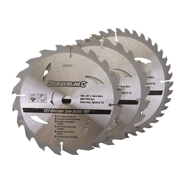 Silverline TCT Circular Saw Blades 20, 24, 40T 3pk                                190 x 16 - no ring