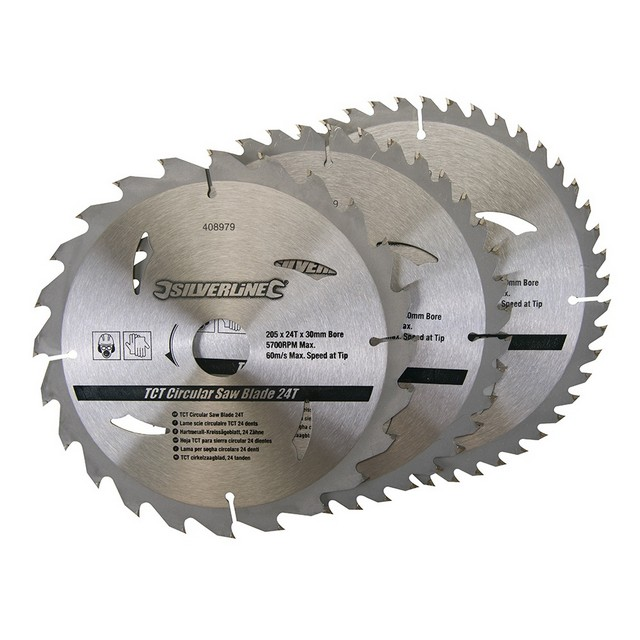 Silverline TCT Circular Saw Blades 24, 40, 48T 3pk                                205 x 30 - 25, 18, 16mm rings