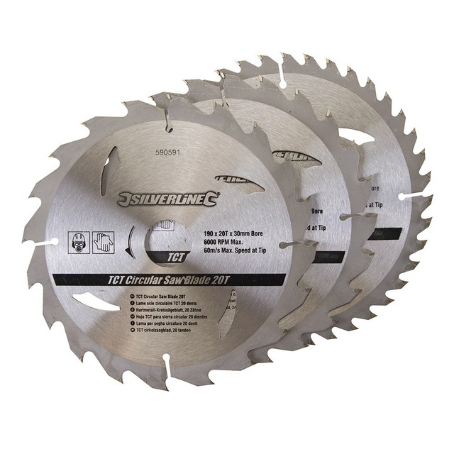 Silverline TCT Circular Saw Blades 20, 24, 40T 3pk                                190 x 30 - 25, 20mm rings