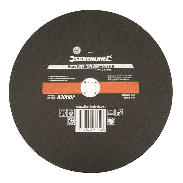 Silverline Heavy Duty Metal Cutting Disc Flat                                     300 x 3 x 20mm