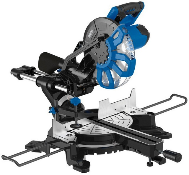 Draper DRAPER 250mm 2000W 230V Sliding Compound Mitre Saw with Laser Cutting Guide