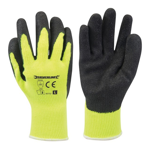 Silverline Hi-Vis Builders Gloves Yellow Large