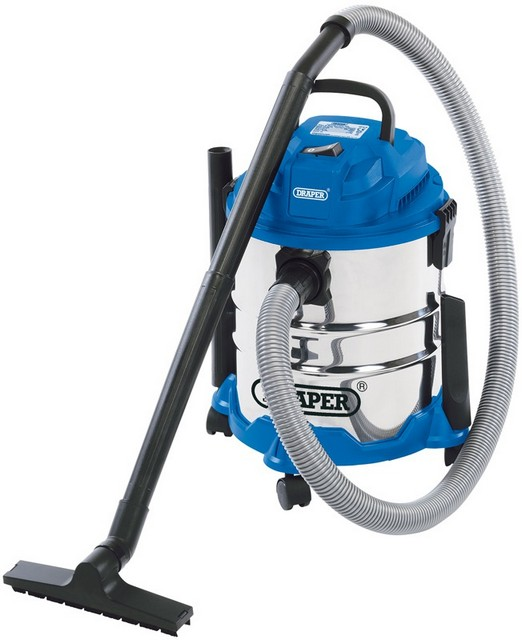 Draper DRAPER 20L 1250W 230V Wet and Dry Vacuum Cleaner with Stainless Steel Tank