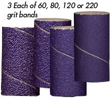 Foredom 3/4'(19mm) Ceramic Purple Sanding Bands - 12 piece assortment