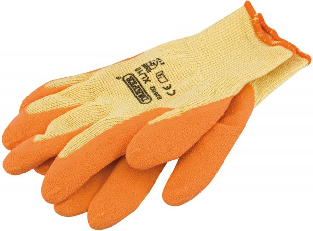 Draper Orange Heavy Duty Latex Coated Work Gloves - Extra Large