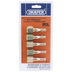 DRAPER 1/4' Female Thread PCL Coupling Screw Adaptor Pack of 5