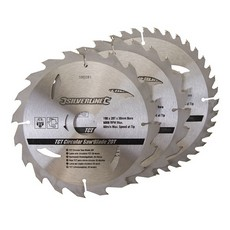 TCT Circular Saw Blades 20, 24, 40T 3pk                                190 x 30 - 25, 20mm rings