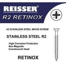 Reisser R2 Retinox 5x 100mm Stainless Steel Wood Screws Box 200