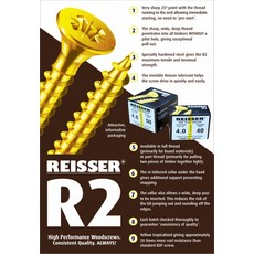 Reisser R2 Wood Screw Craft Pack 4.0 x 60mm Box 200