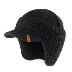 Peaked Knitted Hat Black One size