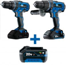 Yandles Storm Force Special Edition Package Deal 20V 4.0AH Hammer Drill + Driver + 3 Li-ion Batterie