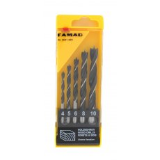 Famag Brad point drill bit, CV steel, set of 5 pcs 4,5,6,8,10mm in plastic box