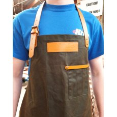 Yandles Classic Bottle Green Wax Canvas Apron Handmade with Tan Leather Trim & Pockets