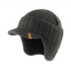Peaked Knitted Hat Graphite One Size