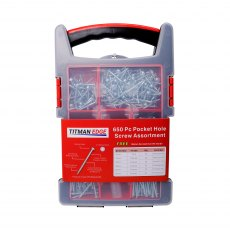650 pocket hole screws in a carry case with compartment for carrying drill & screwdriver bits.