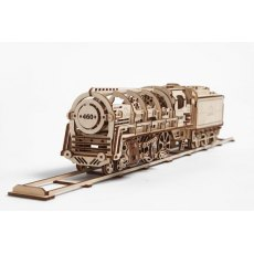 Ugears Steam Locomotive with Tender Mechanical Wooden Model 3D Puzzle