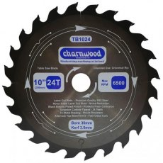 Charnwood Tungsten Carbide Tipped (TCT) Table Saw Blade 250mm x 30mm Bore Laser Cut SK5 Steel 3.0K