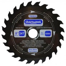 Charnwood Tungsten Carbide Tipped (TCT) Table Saw Blade 200mm x 30mm Bore Laser Cut SK5 Steel 2.6K