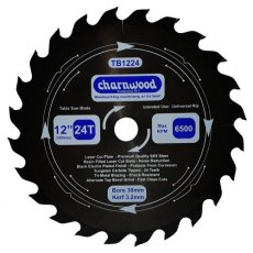 Charnwood Tungsten Carbide Tipped (TCT) Table Saw Blade 300mm x 30mm Bore Laser Cut SK5 Steel 3.2K