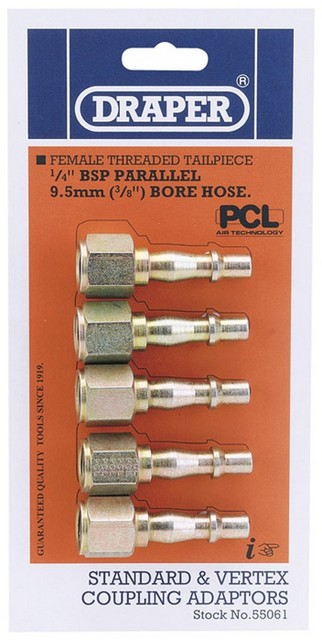 Draper DRAPER 1/4' Female Thread PCL Coupling Screw Adaptor Pack of 5
