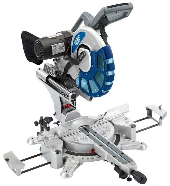 Draper DRAPER Expert 305mm 2000W 230V 2 x Bevel Sliding Compound Mitre Saw with Laser Cutting Guide