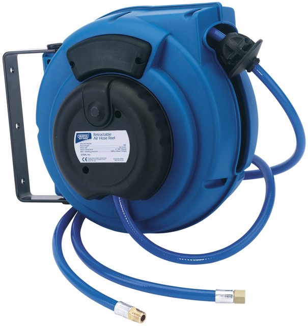 Draper DRAPER 9M Air Hose Reel on a Wall/Ceiling Bracket