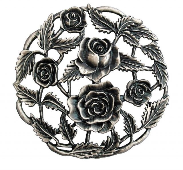 Craft Supplies Pewter Lid  - Roses