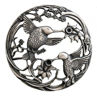Craft Supplies Pewter Lid - Hummingbirds