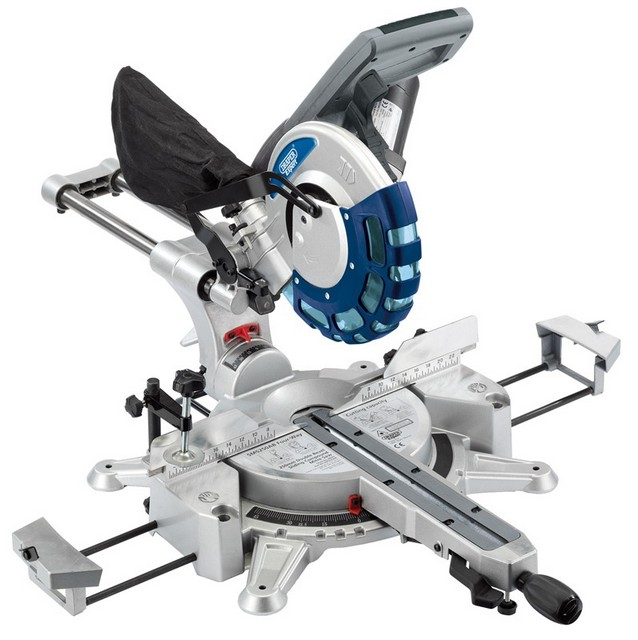 Draper DRAPER 250mm 2000W 230V Double Bevel Sliding Compound Mitre Saw with Laser Cutting Guide