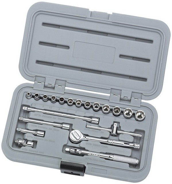 "Draper DRAPER 20 Piece 1/4"" Sq. Dr. Silverdrive® Metric Socket Set"