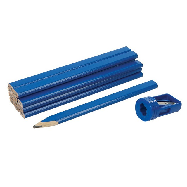 Silverline Carpenters Pencils & Sharpener Set 13pce                               13pce