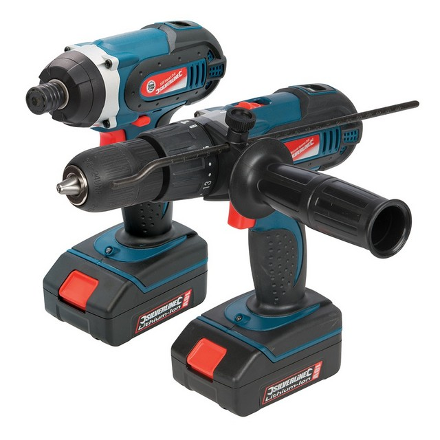 Silverline Silverstorm 18V Combi Drill & Impact Driver Twin Pack                  18V