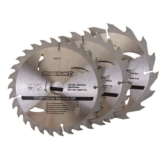 Silverline TCT Circular Saw Blades 16, 24, 30T 3pk                                150 x 20 - 16, 12.75mm rings