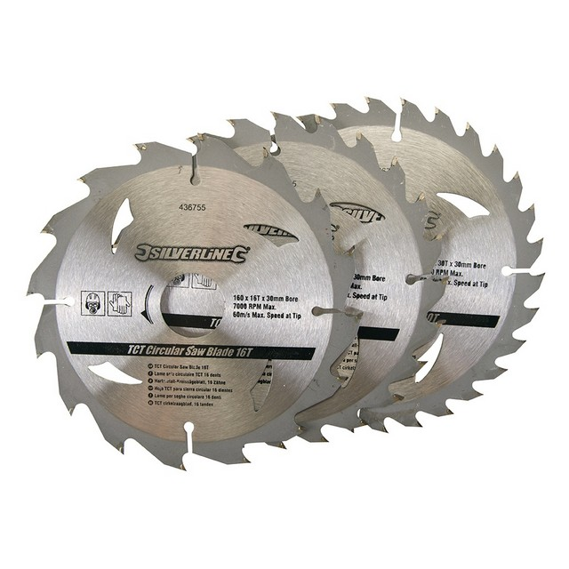 Silverline TCT Circular Saw Blades 16, 24, 30T 3pk                                160 x 30 - 20, 16, 10mm rings