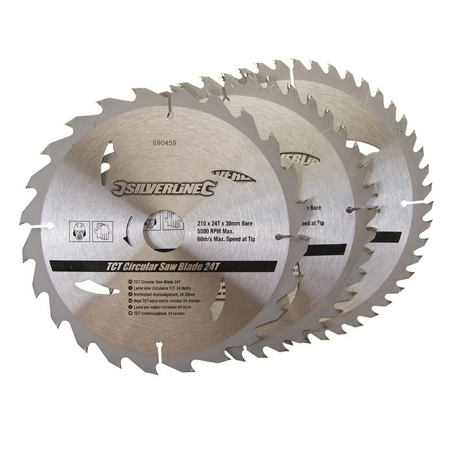 Silverline TCT Circular Saw Blades 24, 40, 48T 3pk                                210 x 30 - 25, 16mm rings