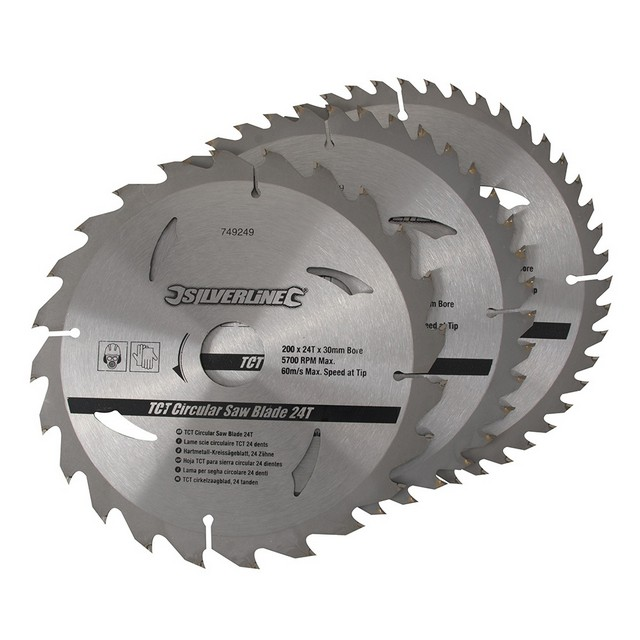 Silverline TCT Circular Saw Blades 24, 40, 48T 3pk                                200 x 30 - 25, 18, 16mm rings