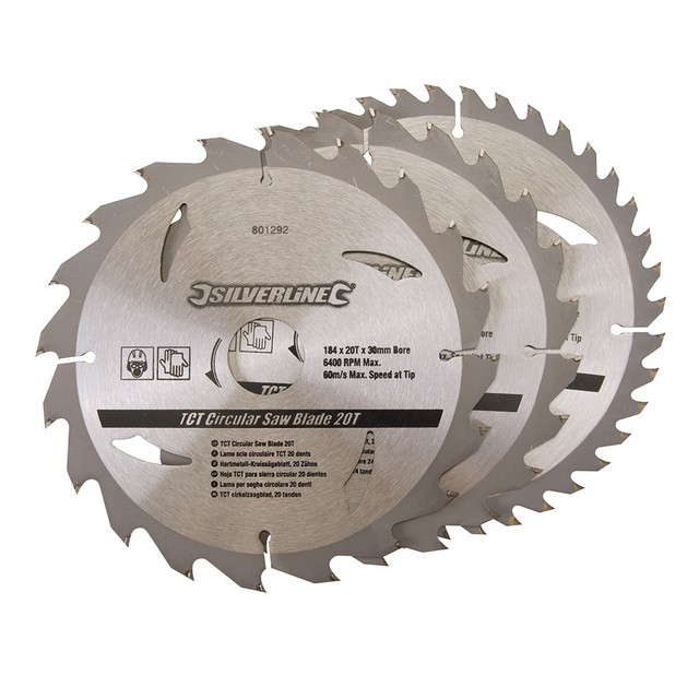 Silverline TCT Circular Saw Blades 20, 24, 40T 3pk                                184 x 30 - 20, 16mm rings