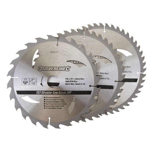 Silverline TCT Circular Saw Blades 24, 40, 48T 3pk                                230 x 30 - 25, 20, 16mm rings