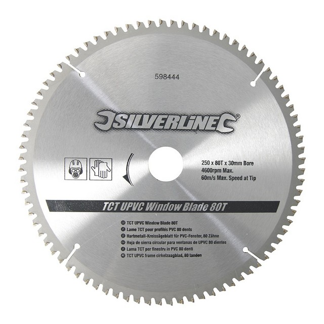 Silverline TCT UPVC Window Blade 80T                                              250 x 30 - 25, 20, 16mm rings