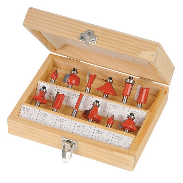 Silverline 1/4' TCT Router Bit Set 12pce                                          1/4'