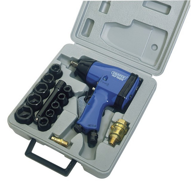 "Draper DRAPER 15 Piece 1/2"" Square Drive Air Impact Wrench Kit"