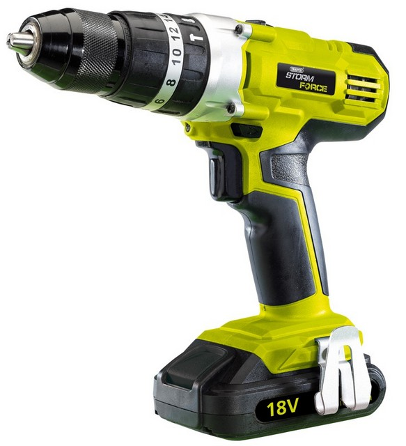 Draper DRAPER Storm Force Cordless Hammer Drill with Two 18V 1.5Ah Li-ion Battery